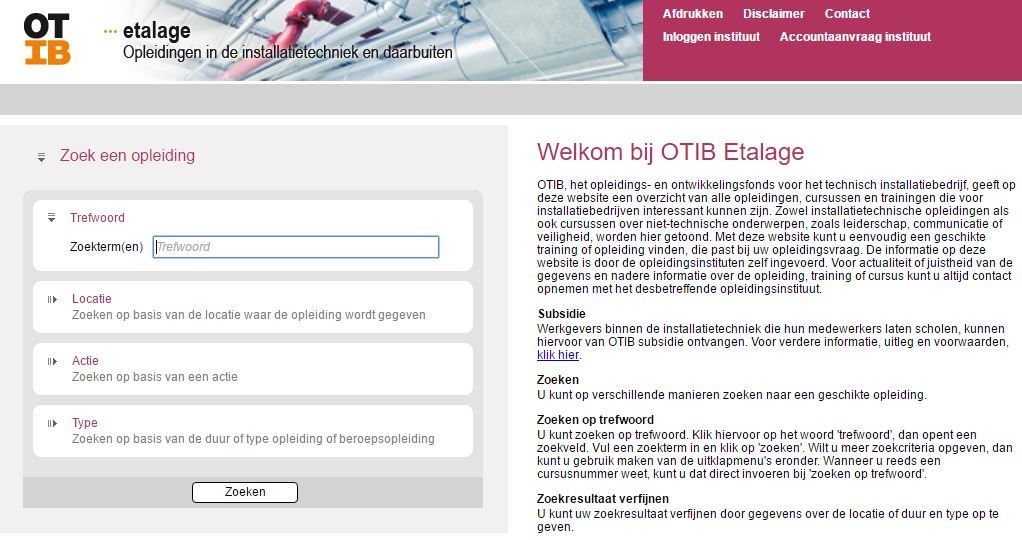 Screenshot OTIB Etalage
